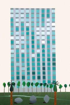 hospital_californiano_Hockney. #hockney #davidhockney #windows #blue #greatart #art #artist #painting #painter #green #hospital #skyscraper #highrise