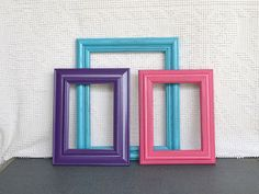 Turquoise Pink Purple Frames with GLASS Set of 3 - Upcycled Frames for Prints Modern Teenage Nursery Bedroom Decor Teen Dorm