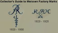 Official Meissen porcelain factory marks used  from 1720 through 1730