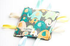 Happy Elephant - Crinkle Tag Sensory Toy, eco-friendly, gender neutral, amde in USA by LeafAndLine on Etsy