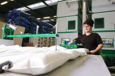 Our long-standing and experienced employees love the duvets and pillows that they make. They are created with respect for every rule of the trade in a meticulously planned manufacturing process with the greatest care and attention. This applies equally to every department from sewing to quilting and finishing. Respect, Duvet, Quilting, How To Apply, It Is Finished, How To Plan, Pillows, Sewing, Bed