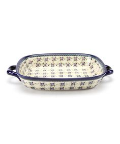 Take a look at this Navy Blue & Sage Flower Platter by Pottery Avenue on #zulily today!
