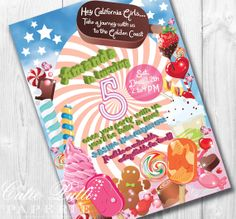 California Girls Party, Candy Party, Katy Perry Inspired- PRINTABLE CUSTOMIZED INVITATION- Cutie Putti Paperie