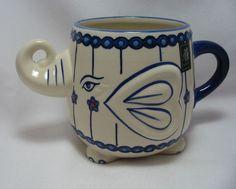 3-D Figural Blue Elephant 20 Oz Coffee Mug Cup Hand Painted Yokohama Studio Luck #YokohamaStudio