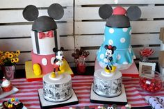Angie F's Birthday / Mickey Mouse / Minnie Mouse - Photo Gallery at Catch My Party Mickey And Minnie Cake, Minnie Mouse Party, Mickey Mouse, Mouse Photos, Bat Mitzvah, Siblings, First Birthdays, Birthday Parties, Party Ideas