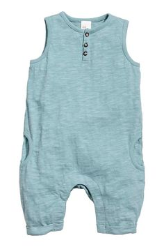 Slub jersey romper suit - Light petrol - Kids | H&M GB 1