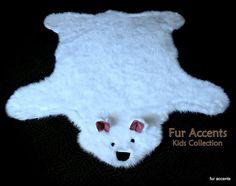 5'x4' Off White / Faux Fur Bear Skin Accent Rug / Polar Bear Hide / Nursery Pelt Rug / Fake Sheepskin Throw / New  / Cabin Carpet Design