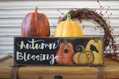 Fall Wood Sign, Fall Decor,  Wood Sign, Autumn Blessings Wood Sign, Pumpkin Patch Wood Sign, Rustic Distressed Primitive Sign, Autumn Decor by TinSheepShop on Etsy
