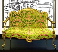 settee upholstered in colorful fabric from cassaro