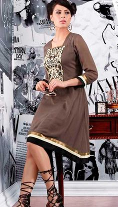 Latest Kurti, Salwar Kameez, Bollywood, Indian, Suits, Lady, Brown, Rings, Casual