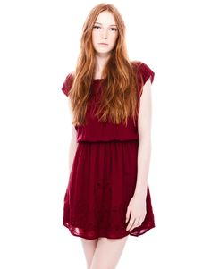 Cute burgundy embroidered dress from pull & bear. Absolutely brighten up my skin