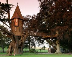 Cedar Spire (Fife, Scotland)  A fairy-tale castle sits on the grounds of a grand Scottish estate. Its majestic details include: stained-glass windows, conical roofs and a balcony that's perfect for playing Rapunzel.
