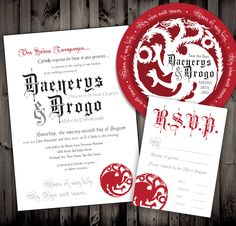 Game of Thrones Inspired Wedding Invitations