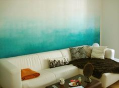 Creative Tie Dye Walls for Colorful Home Interiors : Turquoise Collaborated With White Colors For Wall in girls' bathroom