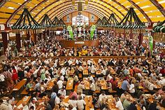 Typical beer tent scene, Oktoberfest, Munich, Bavaria, Germany, Europe