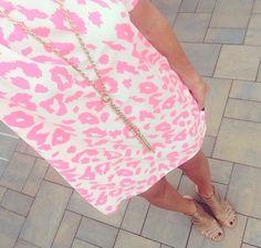 Pink leopard shift dress