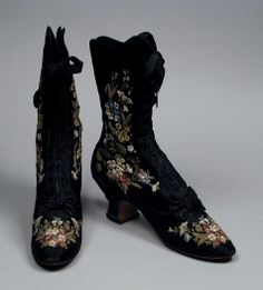 Boots, F. Pinet (Paris, France): ca. 1885, silk, sueded leather, linen, kid leather, embroidery.