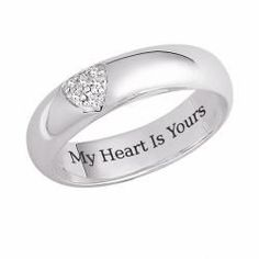 @Overstock - 'My heart is yours' ringSterling silver jewelryClick here for ring sizing guidehttp://www.overstock.com/Jewelry-Watches/Sterling-Silver-My-Heart-is-Yours-Engraved-CZ-Heart-Promise-Ring/7123456/product.html?CID=214117 $49.99