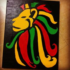 Rasta Lion Painting by BohemianWillowCrafts on Etsy, $20.00 Rasta Art, Rasta Lion, Lion Painting, Painting & Drawing, Bob Marley Painting, Reggae Art, Stoner Art, You Draw, Diy Canvas