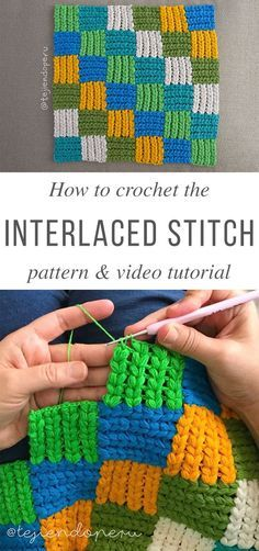 Interlaced Puff Crochet Stitch Free Pattern Video Tutorial - the video is not in English but is very detailed so if you have some experience you can follow along. It's the first stitch I've seen where the rows go both left to right and up and down making checkered squares as you work along. Very unique! #crochetstitches