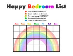 "A very simple four week bedroom cleaning chart I whipped up for my 4 year old daughter (who currently loves rainbows and snails).  I kept the ""chores"" simple and to the point -- things that need to be done to keep order in her room and things I know she can do easily by herself.     At the end of the day if she's cleaned up after herself and kept her room clean she gets to pick out one sticker of her choice to put one on the chart for that day."