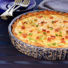 Crispy bacon, caramelized onions, and gooey Cheddar cheese star in this fluffy and delicious quiche that makes a perfect brunch, lunch, or dinner. Onion Quiche Recipe, Quiche Recipes, Brunch Recipes, Brunch Menu, Sunday Brunch, Breakfast Dishes, Breakfast Recipes, Breakfast Time, Cheese Quiche