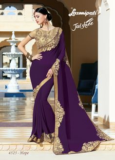 Explore The Laxmipati Purple Georgette Saree And Golden Brocade Blouse With Net With Embroidery, Patchwork Work along with Lace Border For Your Special Occasion. Fancy Sarees, Party Wear Sarees, Ethnic Fashion, Indian Fashion, Purple Saree, Lehenga Saree, Desi Clothes, Dubai Fashion, Indian Couture