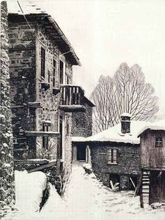 """Christodoulos Galdemis """"Metsovo 1999"""" copper engraving, etching, aquatint"""
