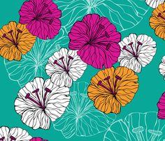 blue_little_flowers fabric by valentinaharper on Spoonflower - custom fabric