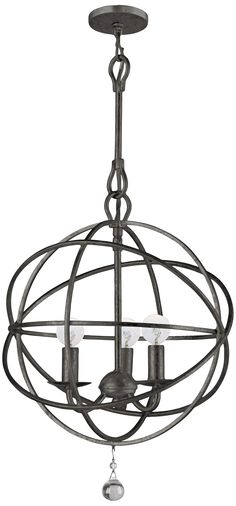 "Crystorama Solaris English Bronze 12"" Wide Pendant Light - #T1467 