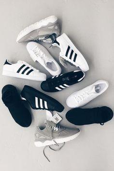 black/white/grey Adidas sneakers