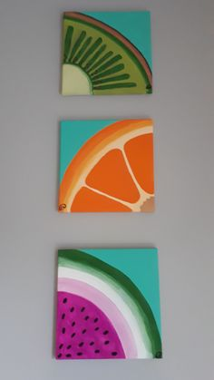 Simple Canvas Paintings, Easy Canvas Art, Small Canvas Art, Mini Canvas Art, Canvas Painting Tutorials, Acrylic Painting Canvas, Diy Painting, Watermelon Painting, Fruit Painting