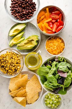 Tacos get a healthy upgrade in the form of a Vegetarian Taco Salad with black beans, a rainbow of veggies, crushed tortilla chips, and a mouth-watering fresh cilantro lime salad dressing. Vegetarian Taco Salad, Vegetarian Recipes, Healthy Recipes, Lime Salad Dressing, Great Salad Recipes, Easy Family Meals, Family Recipes, Quick Weeknight Meals, Side Salad