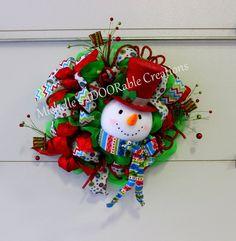 Christmas Wreath, Snowman Wreath, Snowman Head Deco Mesh Wreath by MaDoorableCreations on Etsy