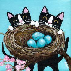 Kittens and the Robins Nest Original Folk Art by KilkennycatArt