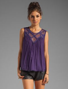 Beyond vintage purple lace tank