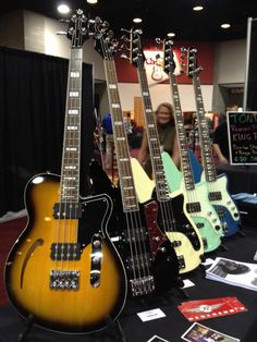 new bass line-up from Reverand Reverend Guitars, Guitar Pins, Guitar Photography, Guitar Design, Bass Guitars, Electric Guitars, Mandolin, Percussion, Music Stuff