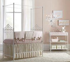 Baby's Dream Angelica Canopy metal crib, snowdrift finish.