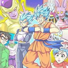Goku, Vegeta, Bulma, Lord Beerus, Whis, Jaco, Golden Frieza, Gohan, and Piccolo