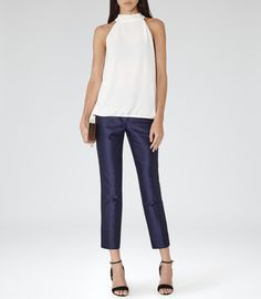 Reiss Hartley Women's Champagne Neck-tie Top