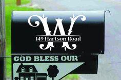 MAILBOX ADDRESS FANCY INITIAL sticker CUSTOM House Home Street SET OF TWO 2
