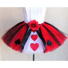 Halloween Tutu Costume - New Queen of Hearts Tutu - Adult Teen Tutu - Custom Sewn Tutu - sizes up to 34'' waist ($72) found on Polyvore