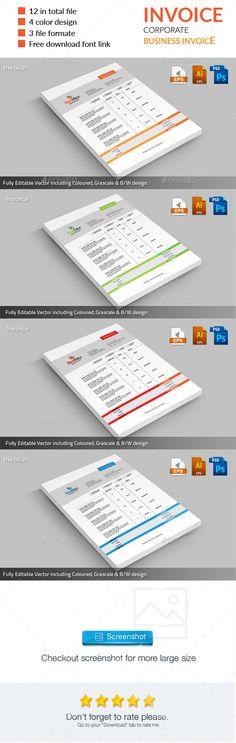 ReeMex Corporate Invoice Template #design #print Download: http://graphicriver.net/item/reemex-corporate-invoice/11967858?ref=ksioks
