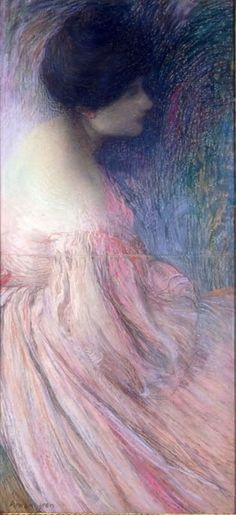 Femme en robe rose by Edmond Francois Aman-Jean (Edmond Francois Aman Jean) (Woman in a pink dress), Pastel on paper