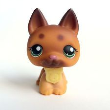 LPS German Shepherd #357 Littlest Pet Shop Dog (Tan/Brown, Green Eyes)
