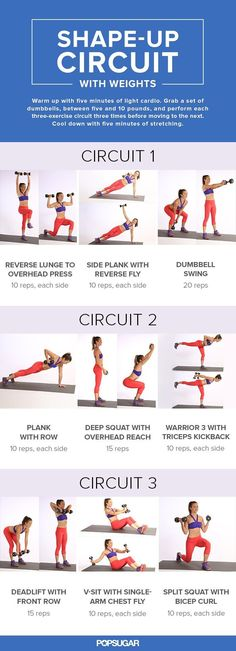 Fitness Motivation : Description Adding dumbbells to your sweat session will build some metabolism-boosting muscle. This circuit workout, full of multitasking moves, is incredibly effective for toning your entire body in little time. Fitness Bikini, Bikini Workout, Butt Workout, Workout Board, Workout Belt, Workout Exercises, Workout Guide, Workout Ideas, Fitness Workouts