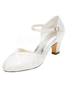 Mariage dentelle Chaussures haut talon cheville ronde Ivoire Strap chaussures de mariée