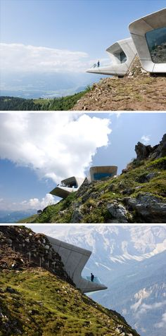 The Messner Mountain Museum Corones in South Tyrol, Italy, is made from thick concrete and has been embedded into the mountain, projecting out to provide incredible views of the valley below and the mountains surrounding it.