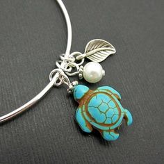 Adorable Turtle Bracelet / Sterling Silver Bangle by 4Everinstyle on Opensky