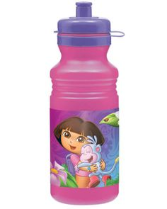 Going on adventures can sure work up a thirst! Stay hydrated with our Dora the Explorer Water Bottle. This gorgeous bottle is pink and is decorated by pictures of Dora and Boots playing in a field of flowers. The BPA-free plastic bottle has a purple Minnie Mouse 1st Birthday, Baby First Birthday, First Birthday Parties, 4th Birthday, Birthday Ideas, Fancy Water Bottles, Plastic Drink Bottles, Disney Balloons, Wholesale Party Supplies